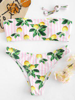 Zitrone Streifen Bandeau Bikini Set - Helles Rosa S
