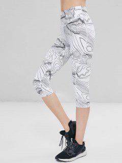 Abstract Print High Waist Cropped Leggings - White L