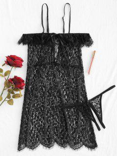 Cold Shoulder Sheer Lace Babydoll Lingerie - Black