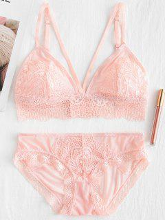 Lace Tulle Sheer Bra And Panty Lingerie Set - Pink 70b