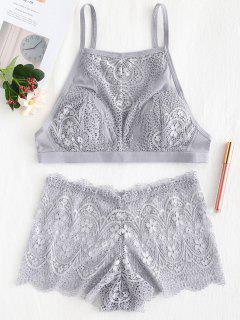 High Neck Bra And Boyshort Panty Lingerie Set - Gray 75b