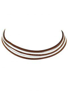 Layered Two Tone Choker Necklace - Coffee