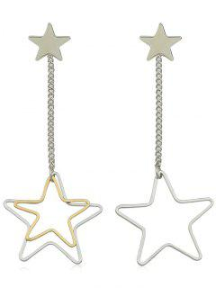 Alloy Long Chain Star Drop Earrings - Silver