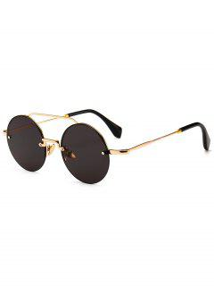 Novelty Crossbar Round Rimless Sunglasses - Black