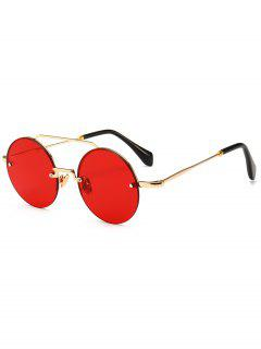 Novelty Crossbar Round Rimless Sunglasses - Red