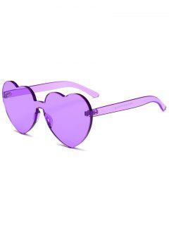 Anti Fatigue Heart Lens One Piece Sunglasses - Violet