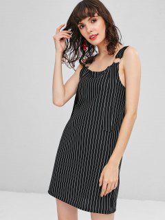 Striped Wide Strap Mini Shift Dress - Black S
