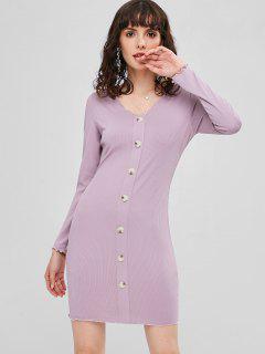 Ribbed Buttoned Bodycon Dress - Wisteria Purple M