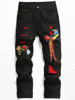 Embroidery Applique Patch Ripped Jeans - Black 36