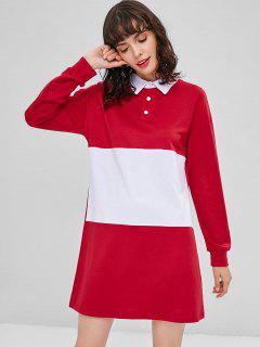 Two Tone Long Sleeve Casual Dress - Red M