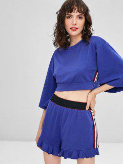 Side Stripe Sporty Top Shorts Sweat Suit - Blue M