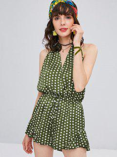 Polka Dot Backless Halter Romper - Army Green L