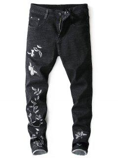 Embroidery Butterfly Flower Zip Fly Jeans - Black 32