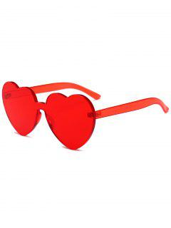 Anti Fatigue Heart Lens One Piece Sunglasses - Red