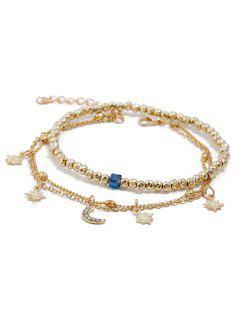 Ensemble Bracelets De Cheville Etoile Et Lune Design Superposés - Or
