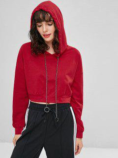 Metal Chain Drawstring Cropped Hoodie - Love Red L