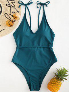 High Cut Tie Shoulder Swimsuit - Peacock Blue S