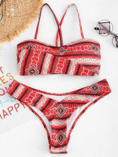 Bedrucktes Criss Cross Bikini Set - Multi-a L