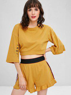 Side Stripe Sporty Top Shorts Sweat Suit - Mustard M