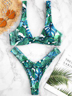 Ensemble De Bikini à Feuilles Tropicales Nouées - Multi S