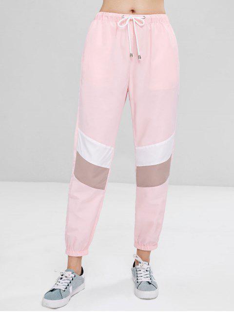women Sporty Contrasting Jogger Pants - PINK BUBBLEGUM S Mobile