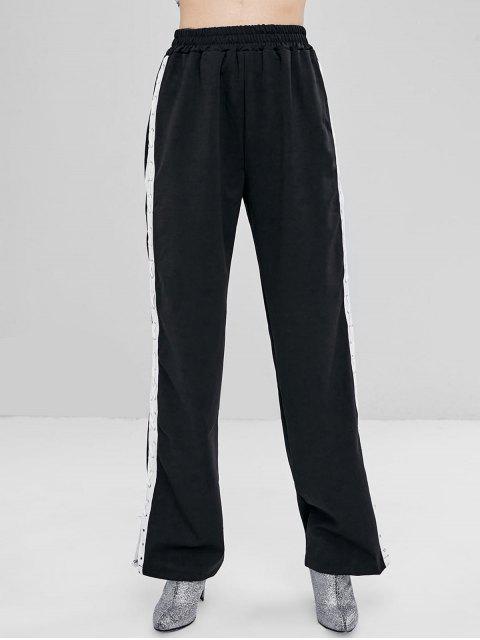 Pantalones de cintura alta con cordones - Negro L Mobile