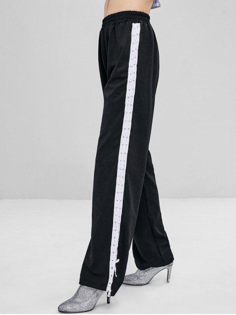 Hohe Taille Schnürung Hosen - Schwarz L Mobile