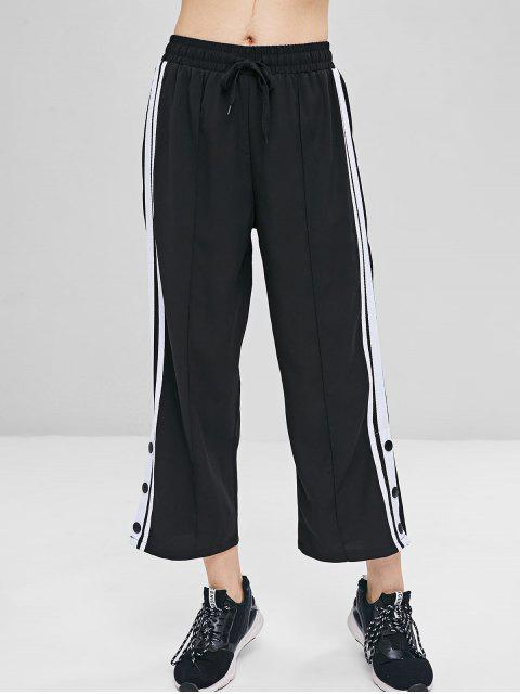 shop Striped Patched Cropped Pants - BLACK M Mobile