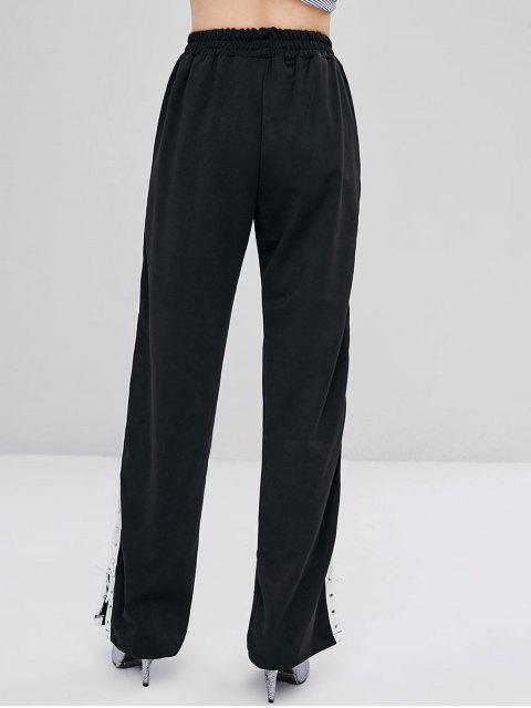 Pantalones de cintura alta con cordones - Negro S Mobile