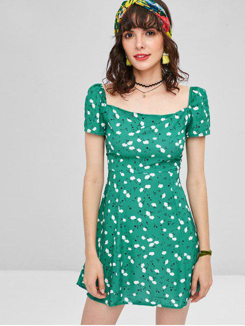 Mini-Robe Carrée Minuscule Florale - Vert Mer L Mobile