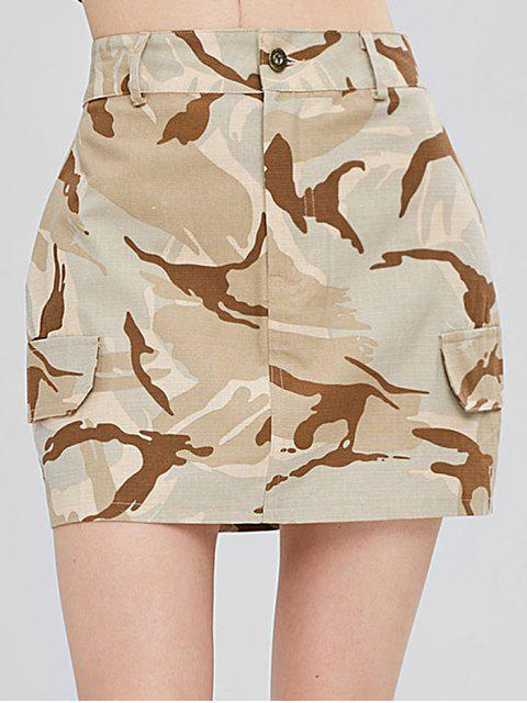 hot Faux Pockets Camouflage Skirt - ACU CAMOUFLAGE M Mobile