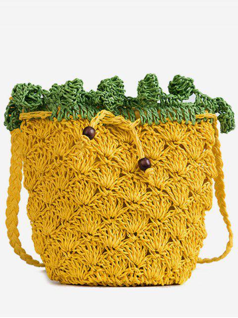 Sac à bandoulière tricoté ananas - Jaune Bus Scolaire  Mobile
