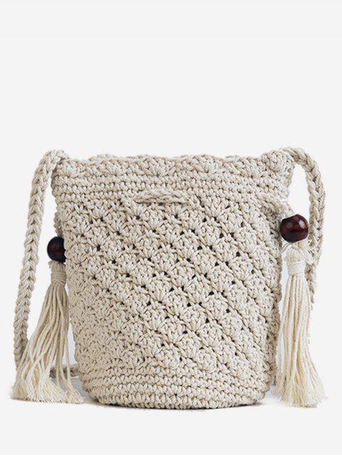 Bolso de Crossbody tejido de la decoración de las borlas - Blanco  Mobile
