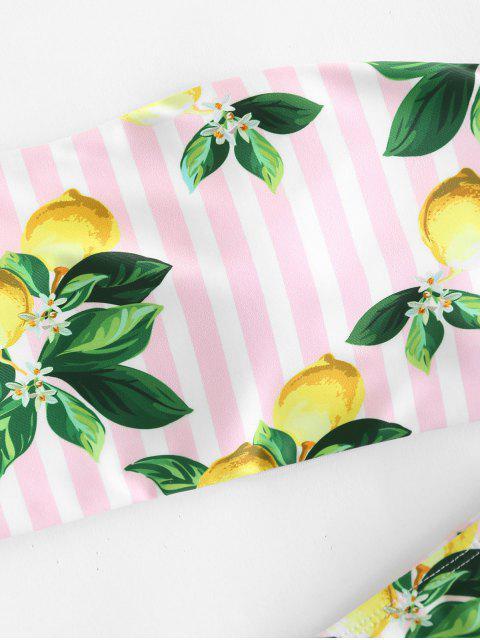 best Lemon Striped Bandeau Bikini Set - LIGHT PINK S Mobile