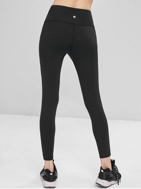 Pantalones de deporte de panel de malla de talle alto - Negro L Mobile