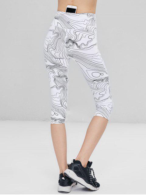 Estampado abstracto de cintura alta leotardos recortados - Blanco M Mobile