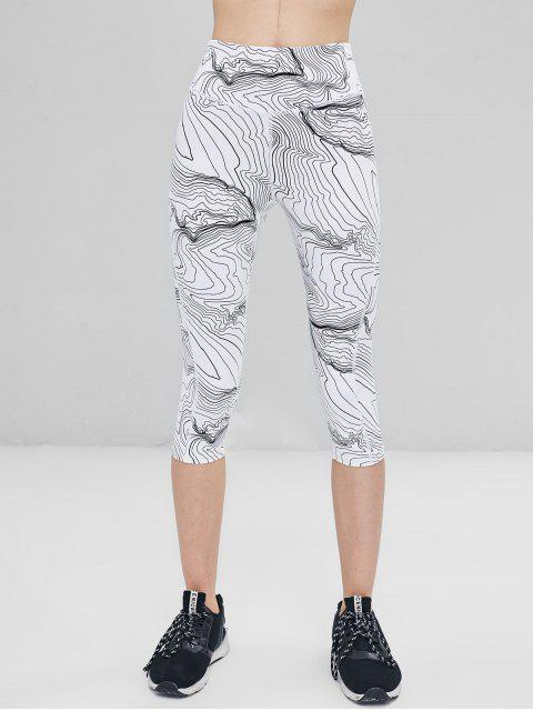 Estampado abstracto de cintura alta leotardos recortados - Blanco L Mobile
