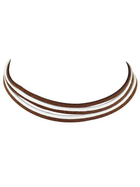 fashion Layered Two Tone Choker Necklace - COFFEE  Mobile