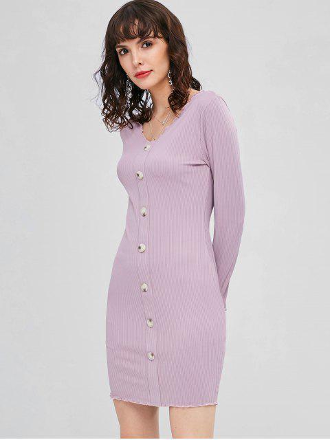 buy Ribbed Buttoned Bodycon Dress - WISTERIA PURPLE L Mobile
