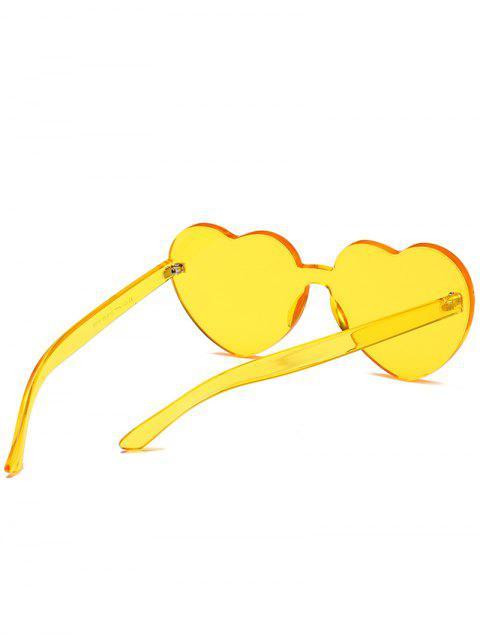 fashion Anti Fatigue Heart Lens One Piece Sunglasses - BEE YELLOW  Mobile