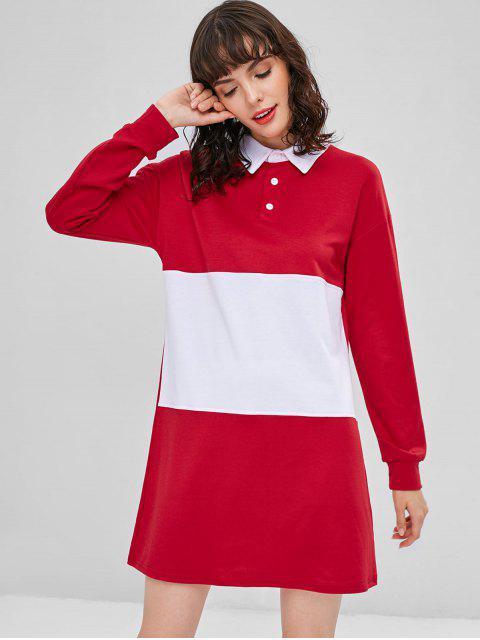 Zweifarbiges Langarm Freizeitkleid - Rot L Mobile