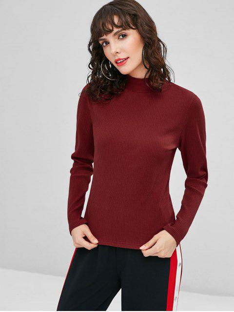 fancy Ribbed Mock Neck Knitwear - CHERRY RED S Mobile