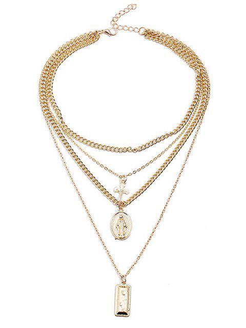Collar de cadena colgante de forma geométrica cruzada en capas - Oro  Mobile