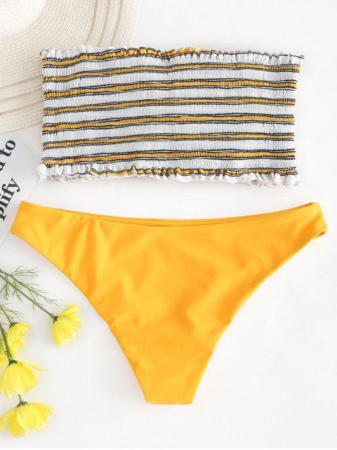 lady ZAFUL Stripe Smocked Bandeau Bikini Set - BRIGHT YELLOW S Mobile