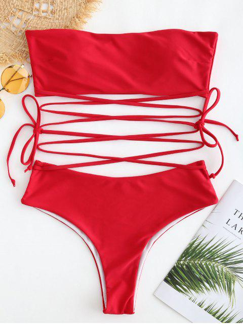 online Multiway High Cut Bandeau Bikini Set - LAVA RED S Mobile