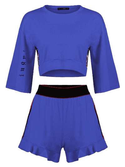 Side Stripe Sporty Top Shorts Sweat Suit, Blue