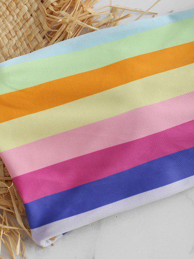 Bandeau Rainbow Color String Bikini Set, Multi-b