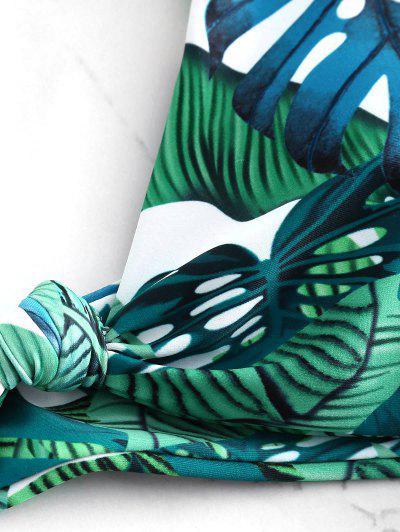 Knotted Tropical Leaf Bikini Set, Multi