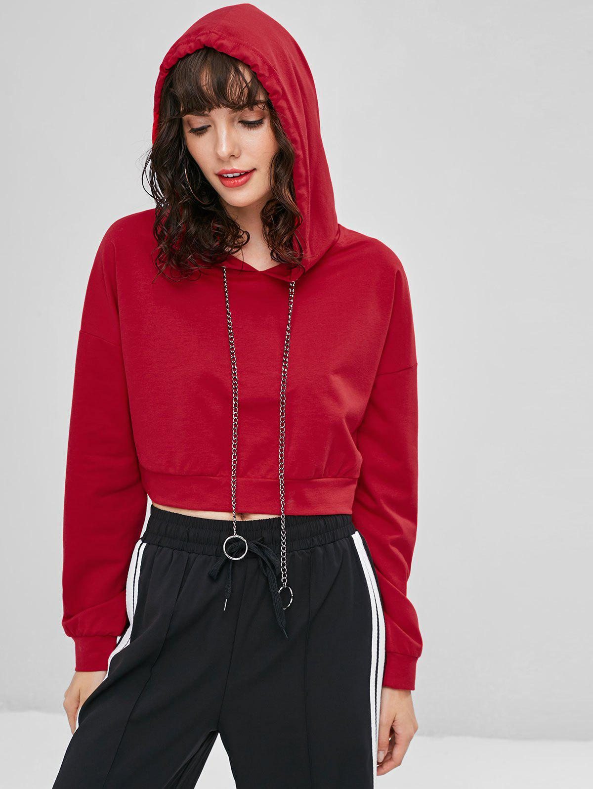 Metal Chain Drawstring Cropped Hoodie