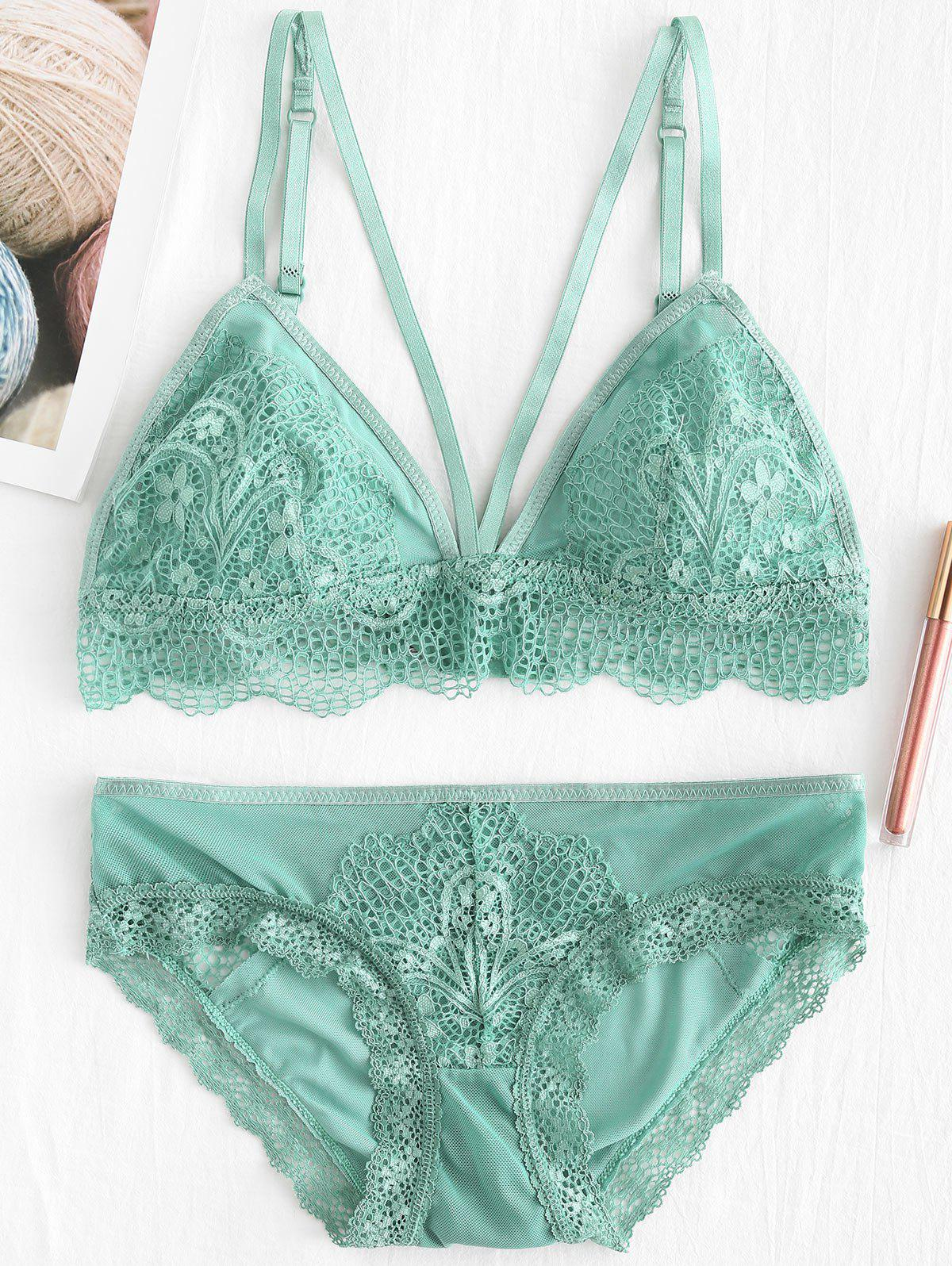 Lace Tulle Sheer Bra and Panty Lingerie Set